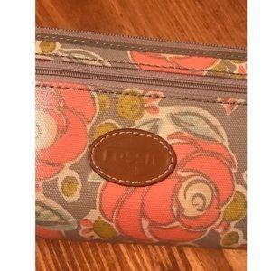 Fossil floral zip around wallet
